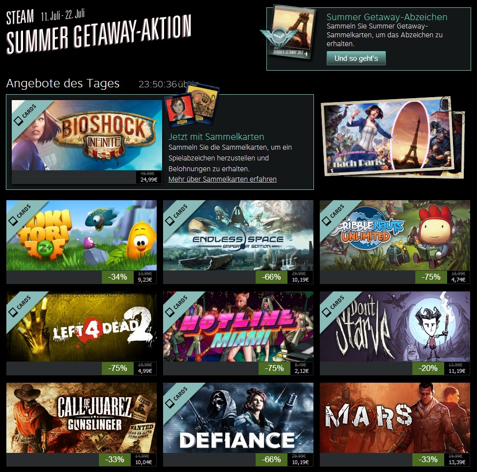 Steam SUMMER GETAWAY-AKTION