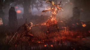The Witcher 3 Wild Hunt Geralt uses Igni to torch leshen